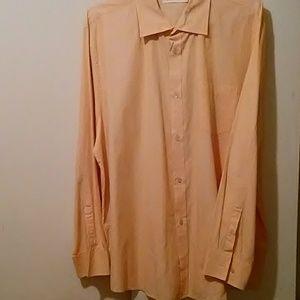 Calvin Klein Dress Shirt Peach Pinstripe XXL